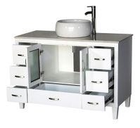"""46 inch Bathroom Vanity Vessel Sink Top Modern Style White Color (46""""Wx21""""Dx36""""H) S2292W"""