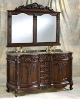 """60 inch Double Sink Bathroom Vanity Set including Matching Mirror Walnut Finish (60""""Wx22""""Dx37""""H) S7760C FREE SHIPPING"""