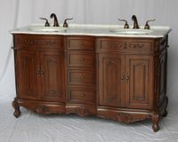 """60 inch Double Sink Bathroom Vanity Walnut Color (60""""Wx21""""Dx37""""H) S190560CHK FREE SHIPPING"""