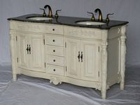 """60 inch Antique White Double Sink Bathroom Vanity Light Brown Color Stone Top (60""""Wx22""""Dx36""""H) S2206261MXC FREE SHIPPING"""