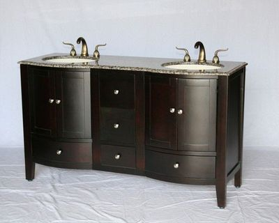 """60 inch Double Sink Bathroom Vanity Espresso Color (60""""Wx21""""Dx35""""H) S451260BN FREE SHIPPING"""