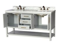 """60 inch Double Sink Bathroom Vanity Gray Color Carrara Marble Top with Backsplash Included (60""""Wx22""""Dx35""""H) S913G"""