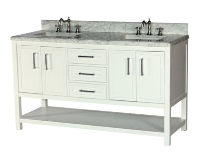 """60 inch Double Sink Bathroom Vanity White Color Carrara Marble Top with Backsplash Included (60""""Wx22""""Dx35""""H) S913W"""