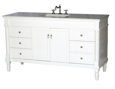 """60 inch Single Sink Bathroom Vanity White Finish with Imperial White Color Stone Top (60""""Wx21""""Dx35""""H) S3060SAW"""