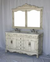 """60 inch Double Sink Bathroom Vanity Set including Matching Mirror Antique White Finish (60""""Wx22""""Dx37""""H) S7660C FREE SHIPPING"""