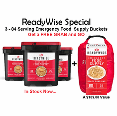 3 READYWISE 84 Serving Food Supply <br>PLUS a FREE<br> 60 Serving GRAB & GO