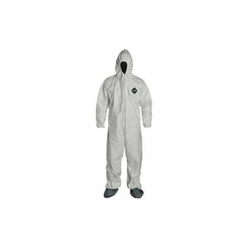 Tyvek Protective Suit with Hood and NON-Slip Boots ( Size L-XL )