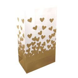 Luminary Bags - Gold Hearts 24 Count