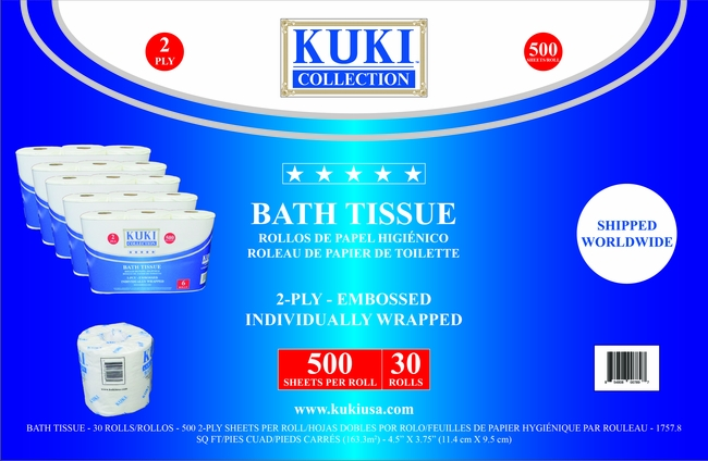 30 Pack Bath Tissue 5 packs of 6 Roll Pack - Individually Wrapped Rolls