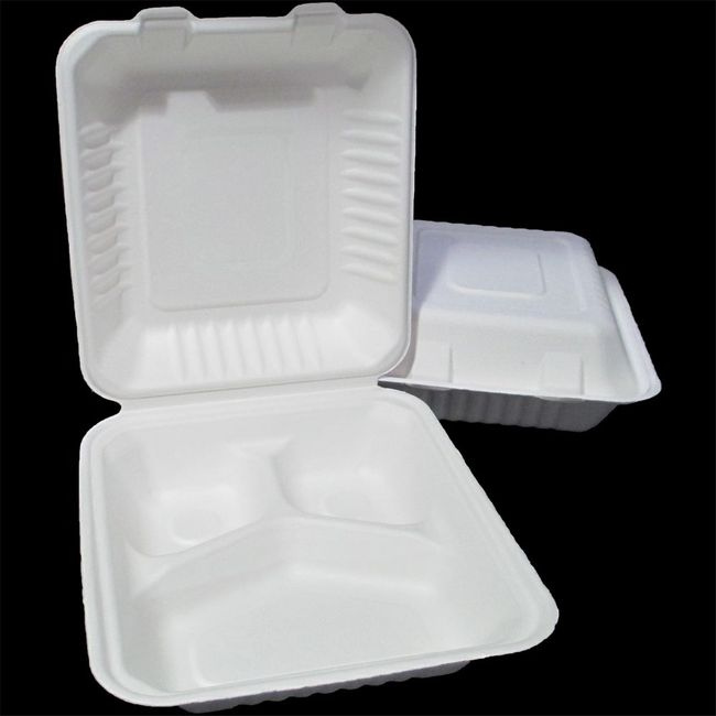 Bagasse Food Container - 3 Compartment