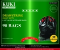 39 Gallon Black Trash Can Liners with Drawstring