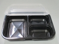 Square Microwavable 3-Compartment Takeout Container