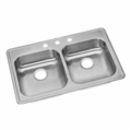 Stainless Steel Top Mount 3-Hole Double Bowl Sink