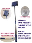 "DynaMop® EZ1000 Long 61"" Hand-Press Self-Powered Spin Mop Handle-Blue"
