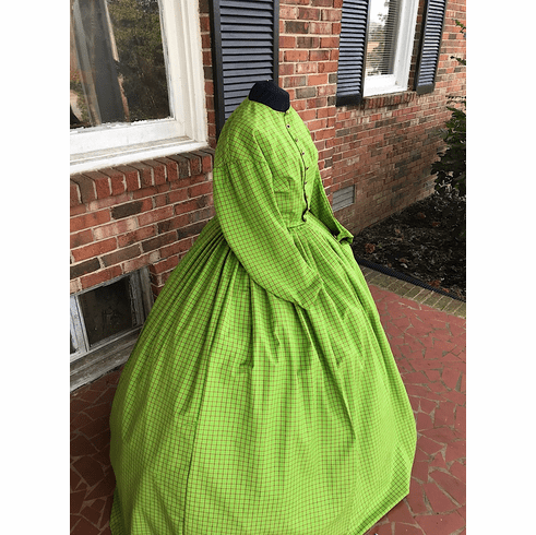 Beautiful Green w/Navy Homespun Cotton Civil War Dress**24