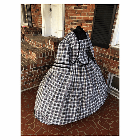 Black, Red & Wine Plaid Plus Size Civil War Dress-40