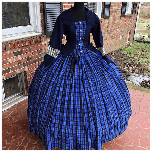 Blue Plaid 100% Cotton Plus Size Civil War Dress/Tea Gown*56
