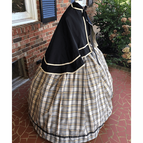 Blush & Black w/ Touch of Gold Plaid Taffeta Civil War Cape Set