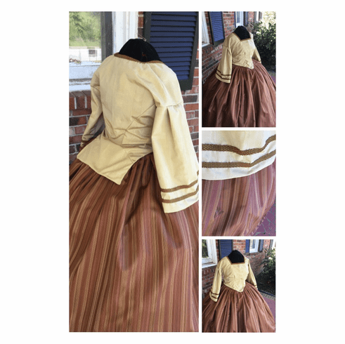 Bramble Colored Watermarked Moire Civil War Dress/Tea Gown**38