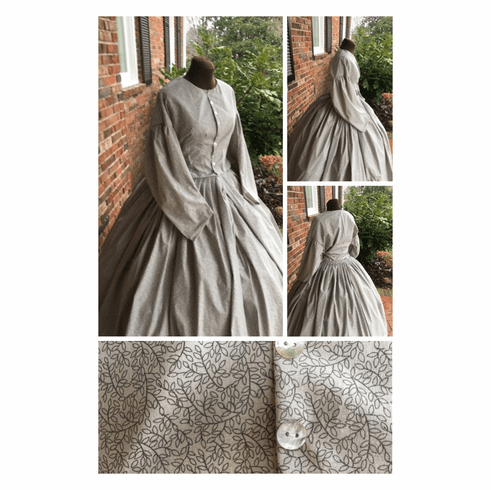 Charcoal on Gray Leaves/Vines Plus Size Civil War Simple Day/Camp Dres