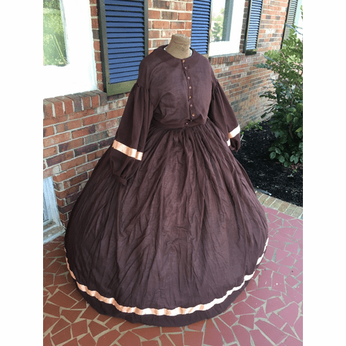 Chocolate Brown w/Peach SemiSheer Civil War Plus Size ...