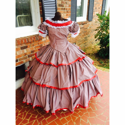Confederate Gray & Scarlet Civil War Flounced Ballgown-38