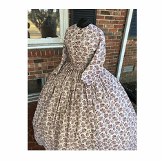 Deep Red on Natural Civil War Reproduction Cotton Dress*38