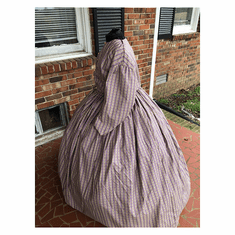 Dusty Lavender Striped Civil War Cotton Dress-24