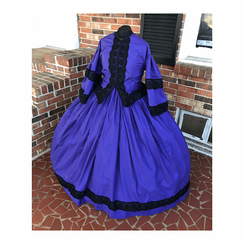 Elegant Purple w/Black Civil War Day Dress-38