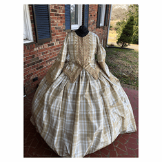 Elegant Tan & White Silk Taffeta Civil War Day Dress*26