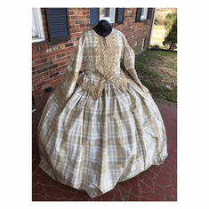 Elegant Tan & White Silk Taffeta Plus Size Civil War Dress*42