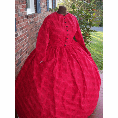 Faded Red Vines Civil War Dress/Camp or Day Dress**54