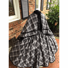 Gray & Black Diagonal Cotton Flannel Plaid Civil War Cape Set