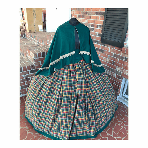 Green Large Homespun Plaid 3 Piece Civil War Dress Cape Set