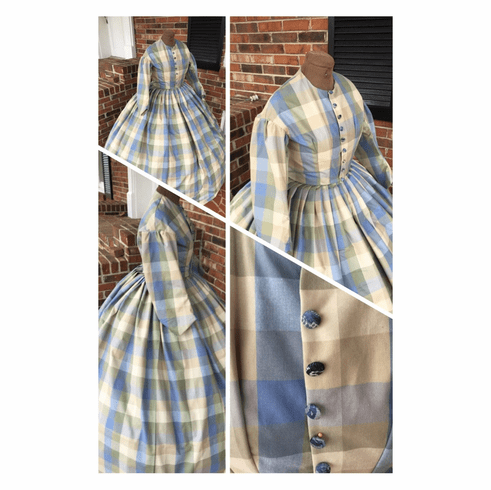 Image result for BLUE IVORY LARGE PLAIDS GOWN