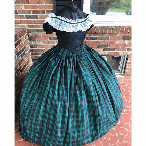 Navy & Green Tartan Plaid Taffeta Civil War Ballgown*30