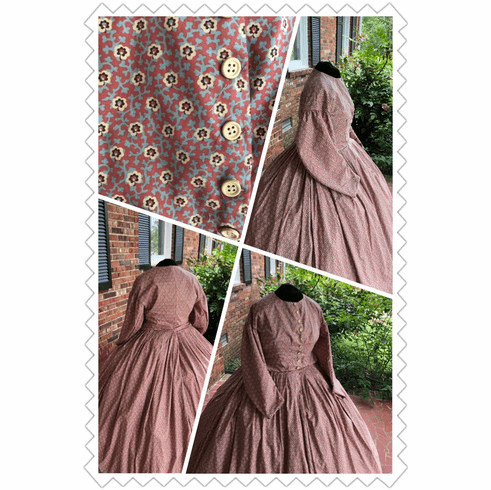 Pink & Blue with Ivory Floral Civil War Simple Day/Camp Dress**42