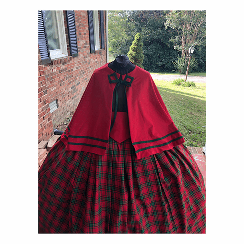 Red & Green Homespun Plaid Christmas Cape Set/Mrs Clause Dress