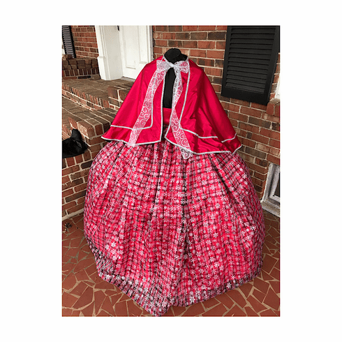 Red Satin & Plaid Snowflake Glitter Organza Mrs Claus Dress/Costume