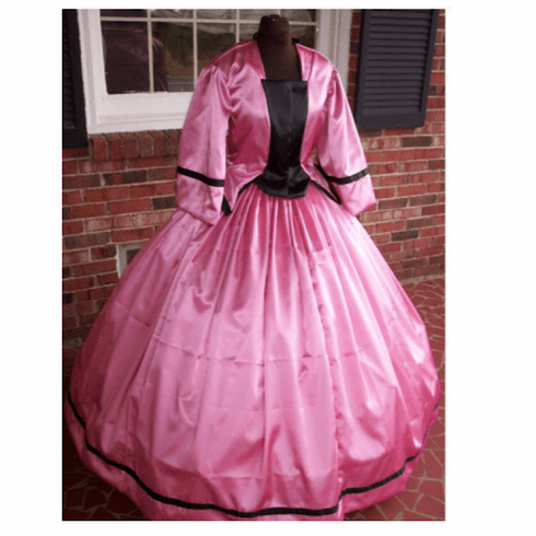 Rose Satin w/Black Civil War Dress/Tea Gown*38
