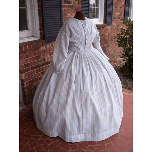 Sweet Blue & White Striped Civil War Simple Day or Camp Dress**38
