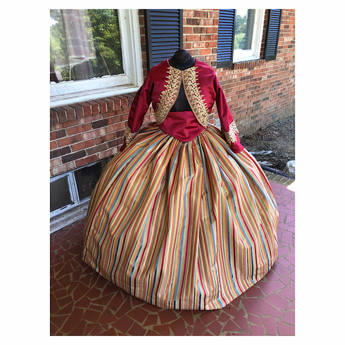 Wine & Gold Striped Civil War Zouave 3 Piece Dress*28