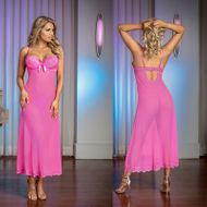 Magic Silk Pretty in Pink Long Gown & G-string Pink 2XL