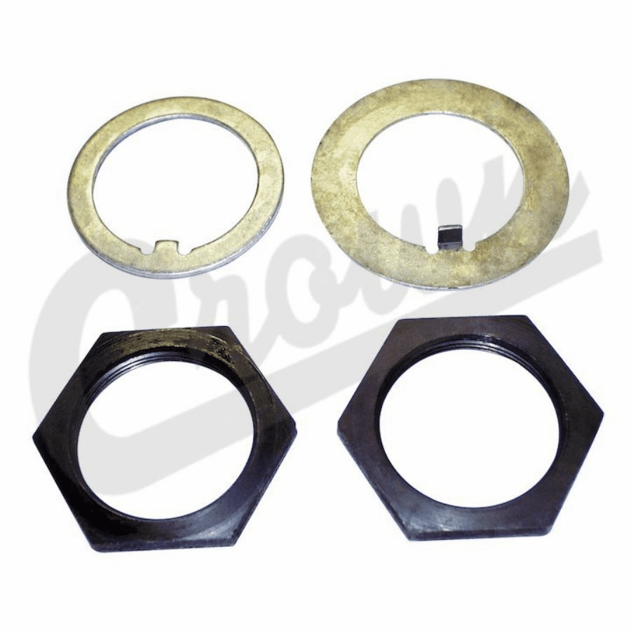 Crown [ A-867K ] Retainer Hub Bearing Nut & Washer Kit, Fits 1945-1986 Jeep CJ Models
