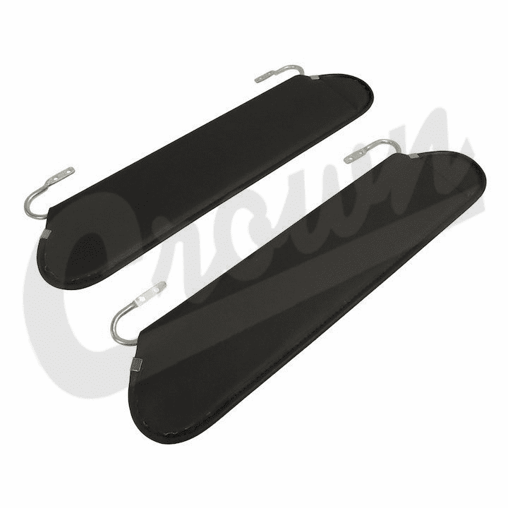 Crown [ RT54002 ] Replacement sun visors, gray vinyl, sold in pairs, fits 1972-86 Jeep CJ-5, CJ-7 & CJ-8