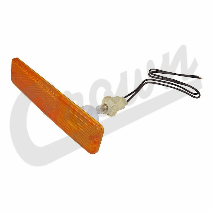 Side lamp assembly, amber lens, front (includes lens, bulb and wiring ) left or right, fits 1972-1986 Jeep CJ