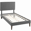 Amaris Twin Fabric Platform Bed with Squared Tapered Legs