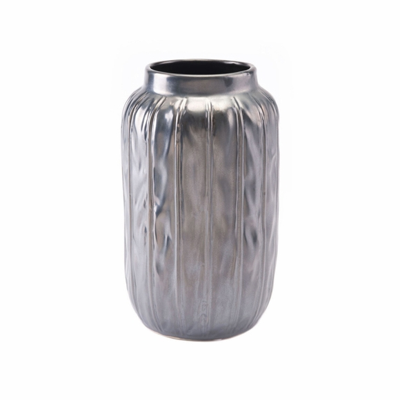 Antique Small Vase in Metallic Gray