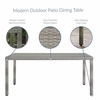 Aura 68inch Wicker Rattan Dining Table in Gray