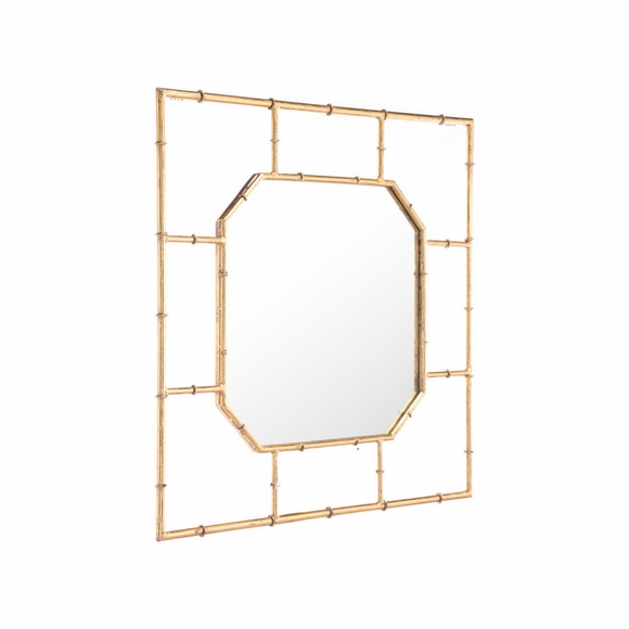 Bamboo Square Mirror in Gold